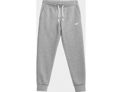 Chłopięce spodnie dresowe 4F JSPDD001 szare