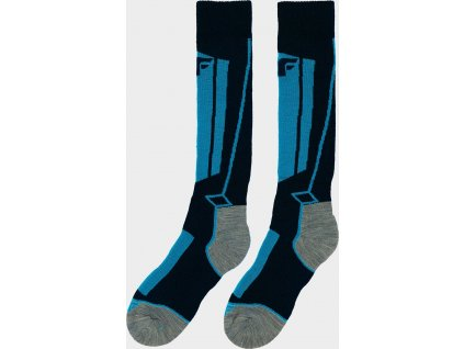 Skarpetki narciarskie chłopiece 4F JSOMN400 Niebieskie