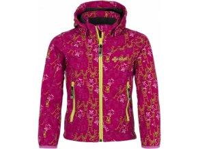 Dziewczęca kurtka softshellowa KILPI ELIA-JG różowa z nadrukiem