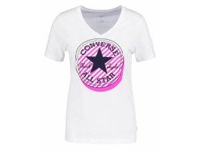 Damska koszulka Converse Off Center Stripe vneck tee biała