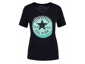 Damska koszulka Converse Off Center Stripe vneck tee czarna