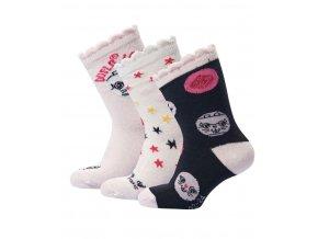 Skarpety dziewczęce 3 pary LEGO® Wear ADELE 702 Różowa / czarna / biała