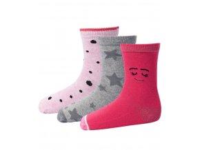 Skarpety dziewczęce 3 pary LEGO® Wear ALEXA 703 Różowa / szara
