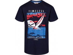 83342 granatowy t shirt m ski z nadrukiem regatta rmt179 cline iii