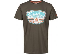 Brązowy t-shirt męski z nadrukiem Regatta RMT179 Cline III