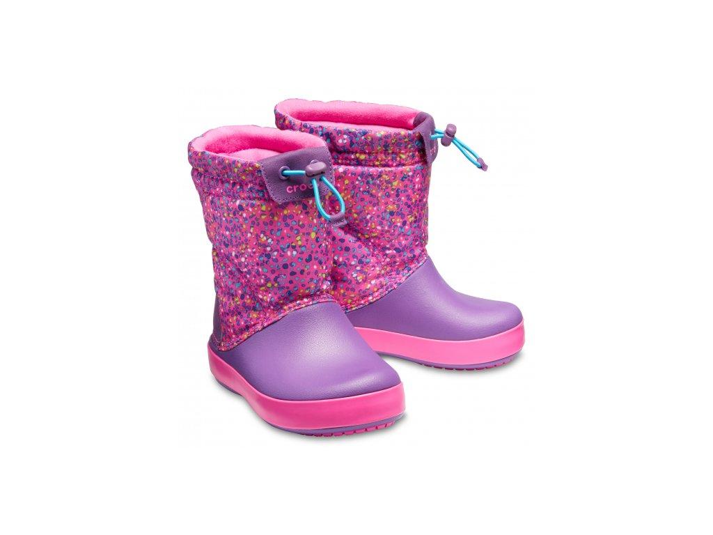 Crocs Dívčí sněhule Kids  Crocband™ LodgePoint Graphic Boot - růžové ... da790e0a16