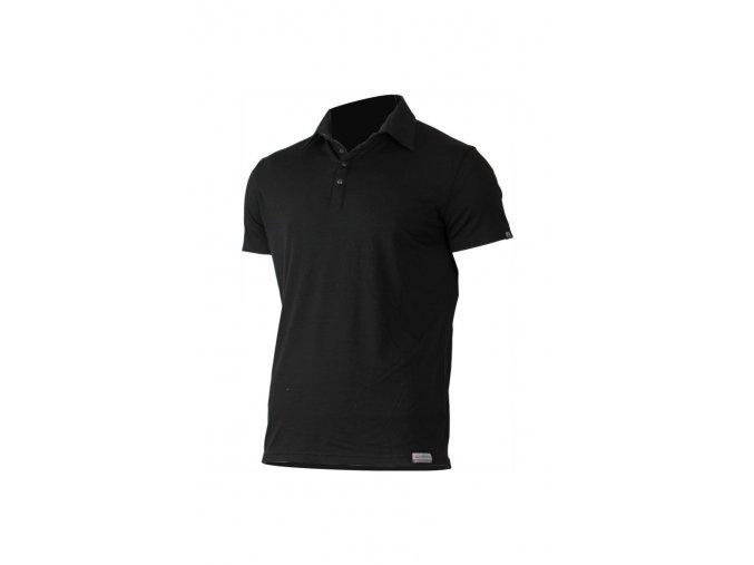 Lasting ELIOT 9090 černá vlněné merino polo košile