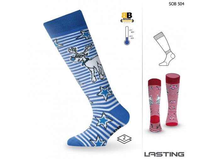 Lasting SOB 504 modrá dětské lyžařské ponožky