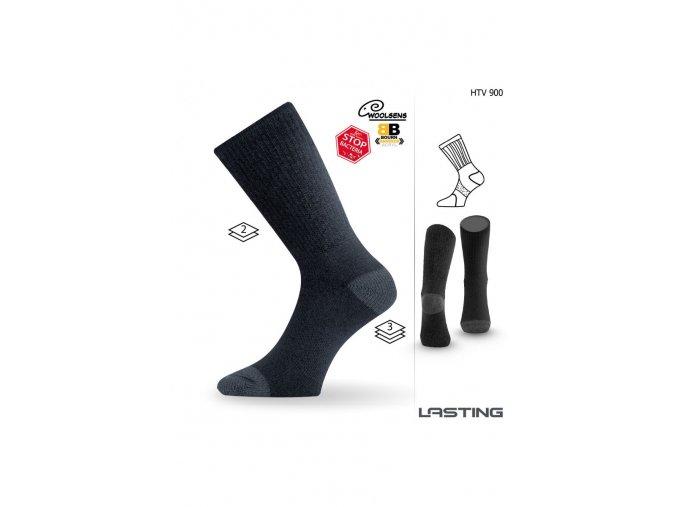 Lasting HTV 900 černá vlněné ponožky s ionty stříbra  ponožky