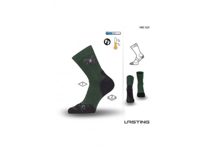 Lasting Myslivecká ponožka HNC 620 zelená  ponožky