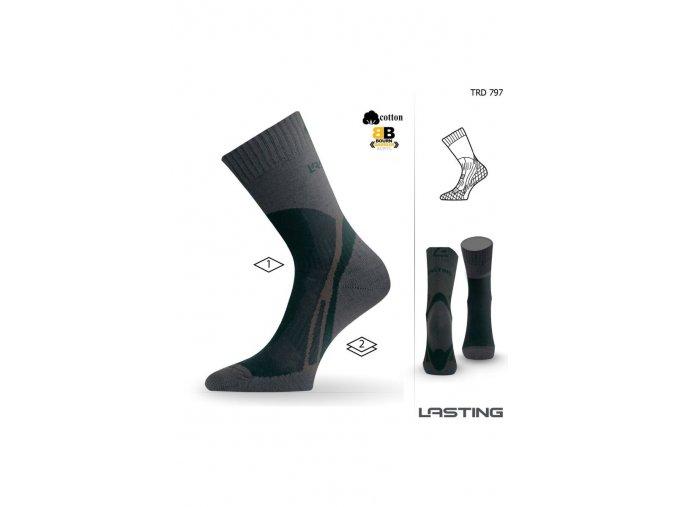 Lasting TRD 797 hnědá trekingová ponožka  ponožky