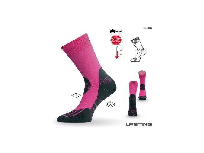 Lasting TCL 318 růžová trekingová ponožka  ponožky