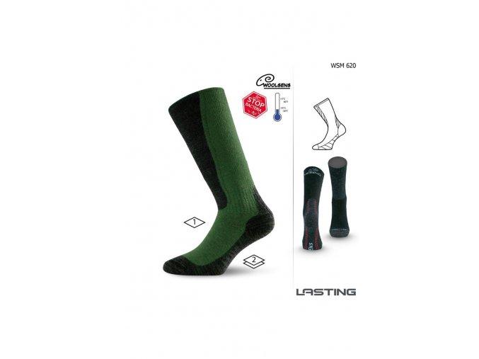 Lasting WSM 620 zelené vlněné ponožky  ponožky