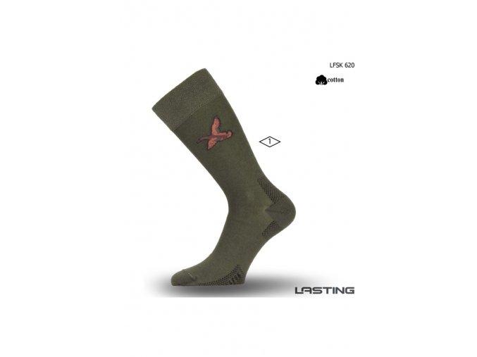 Lasting Bavlněná ponožka LFSK 620 zelená  ponožky