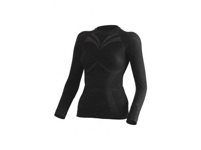 Lasting WATALA 9090 černé bezešvé vlněné triko