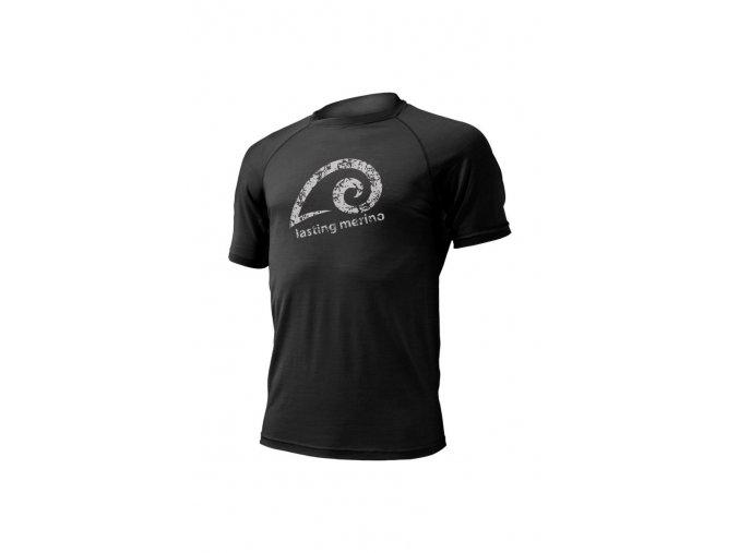 Lasting MERIL 9090 černé pánské vlněné merino triko s tiskem