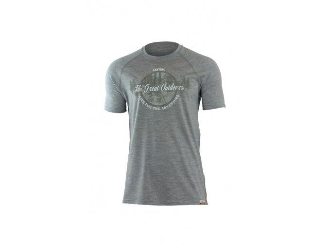 Lasting LUCAS 8484 šedé pánské vlněné merino triko s tiskem