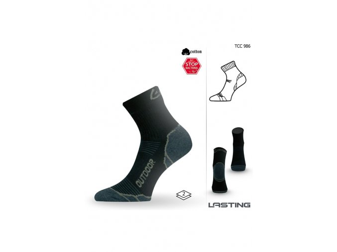 Lasting TCC 986 černé trekingové ponožky  ponožky