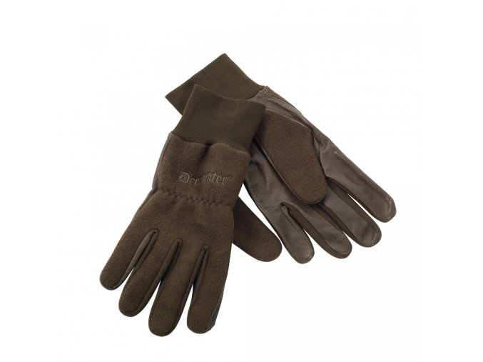 Deerhunter rukavice Fleece Gloves w.Leather (8761) 376