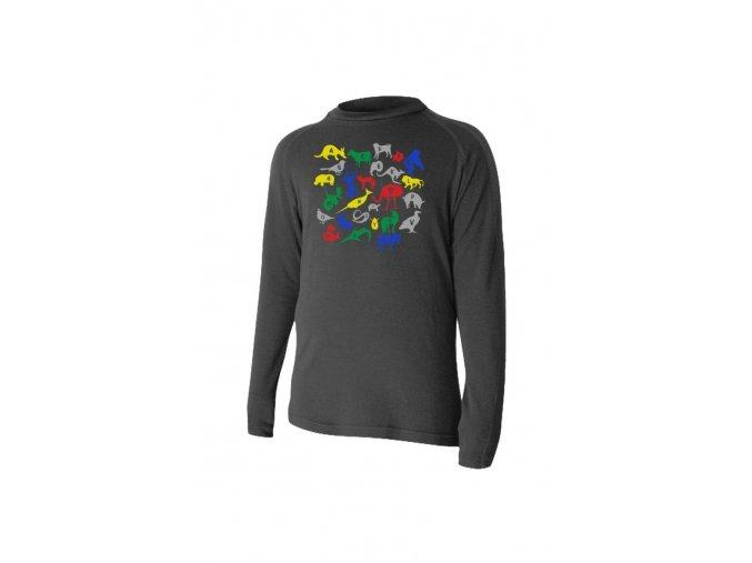 Lasting HARO 9090 černá Vlněné Merino triko s tiskem