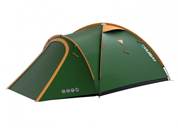 Husky Stan Outdoor Bizon 3 classic zelená  stan + cyklosvětlo čelovka power LED
