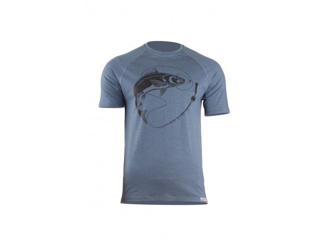 Lasting SALMON 5656 modré pánské vlněné merino triko s tiskem