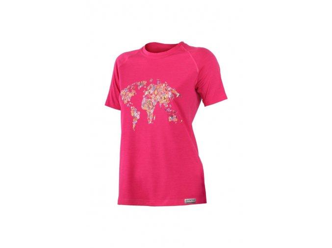 Lasting FLOWER 4747 růžové vlněné merino triko s tiskem
