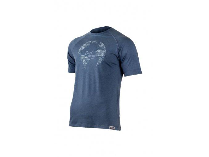 Lasting EARTH 5656 modré pánské vlněné merino triko s tiskem