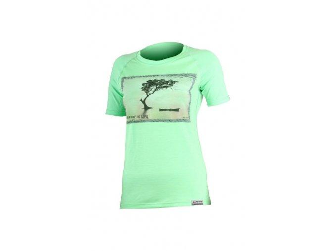 Lasting LAKE 6161 zelené vlněné merino triko s tiskem