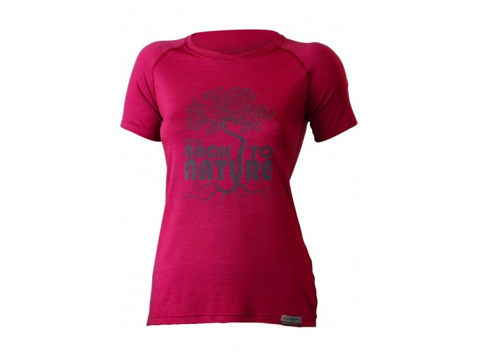 Lasting BACK 4747 růžové vlněné merino triko s tiskem