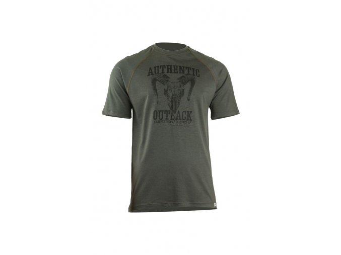 Lasting HENRY 6262 zelené pánské vlněné merino triko s tiskem