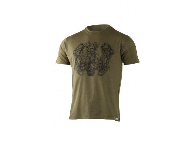 Lasting pánské merino triko s tiskem HERO zelené