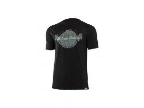 Lasting LUCAS 9090 černá pánské vlněné Merino triko s tiskem