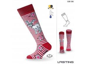 Lasting SOB 306 červená dětské lyžařské ponožky