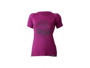 Lasting BACK 4848 růžové vlněné merino triko s tiskem
