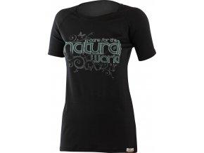 Lasting NATURAL 9090 černá vlněné Merino triko s tiskem