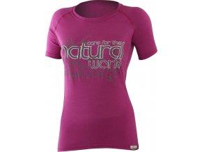 Lasting NATURAL 4848 růžová vlněné Merino triko s tiskem
