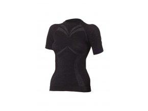 Lasting WALBA 9090 černé vlněné bezešvé triko