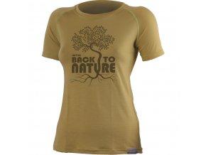 Lasting BACK 6868 zelené vlněné merino triko s tiskem