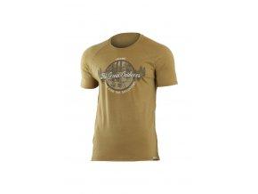 Lasting LUCAS 6868 hnědé pánské vlněné merino triko s tiskem