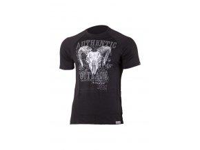 Lasting HENRY 9090 černé pánské vlněné merino triko s tiskem