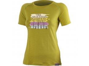 Lasting ORGANIC 6464 hořčicové vlněné merino triko s tiskem