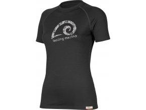Lasting MERILA 9090 černé vlněné merino triko s tiskem