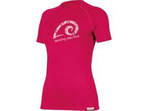Lasting MERILA 4747 růžové vlněné merino triko s tiskem