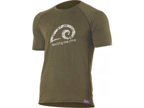 Lasting MERIL 6363 zelené pánské vlněné merino triko s tiskem