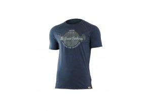 Lasting LUCAS 5656 modré pánské vlněné merino triko s tiskem