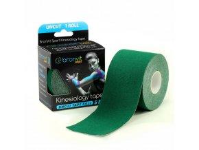 BronVit kinesiology tape Uncut 5cm x 5m tmavě zelená