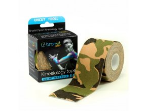 BronVit kinesiology tape  Uncut 5cm x 5m maskovaná zelená