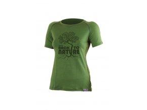 Lasting BACK 6060 zelené vlněné merino triko s tiskem