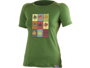 Lasting LIST 6060 zelené vlněné merino triko s tiskem